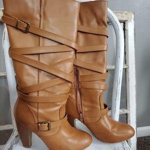 Cognac faux leather boots size 9